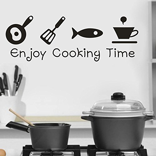 MOVEmen Wall Stickers Enjoy Cooking Time Removable Art Vinyl Mural Home Room Decor Wall Stickers Post-It Notes Applique Wallpaper Mural Sticker for Cars Sticker Letters Drawing Ideas Painting Picture