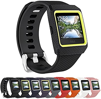VODKE For Fitbit Ionic Bands, Replacement Accessory Wristbands TPU Watch Sport Strap Bands With TPU Protector Case For Fitbit Ionic Smartwatch Men ...