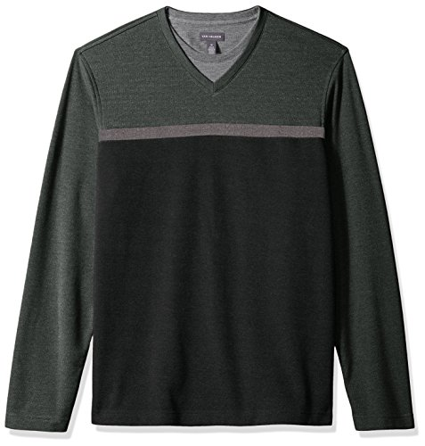 Van Heusen Men's Long Sleeve Jaspe Stripe Doubler V-Neck Shirt
