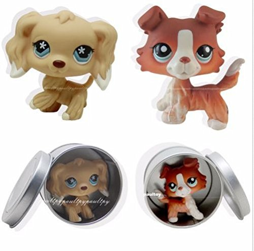 Pet Shops 2pcs #1542 #748 Littlest Brown Collie Dog Puppy Cocker Spaniel LPS -
