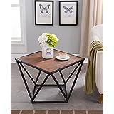 Vintage Brown Finish/Black Metal Frame Coffee Table 31 Diameter