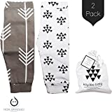 Kaydee Baby Modern Organic Infant Toddler Leggings for Boys and For Girls (Arrows) - Set of 2 Gift Set (12-18 Months)