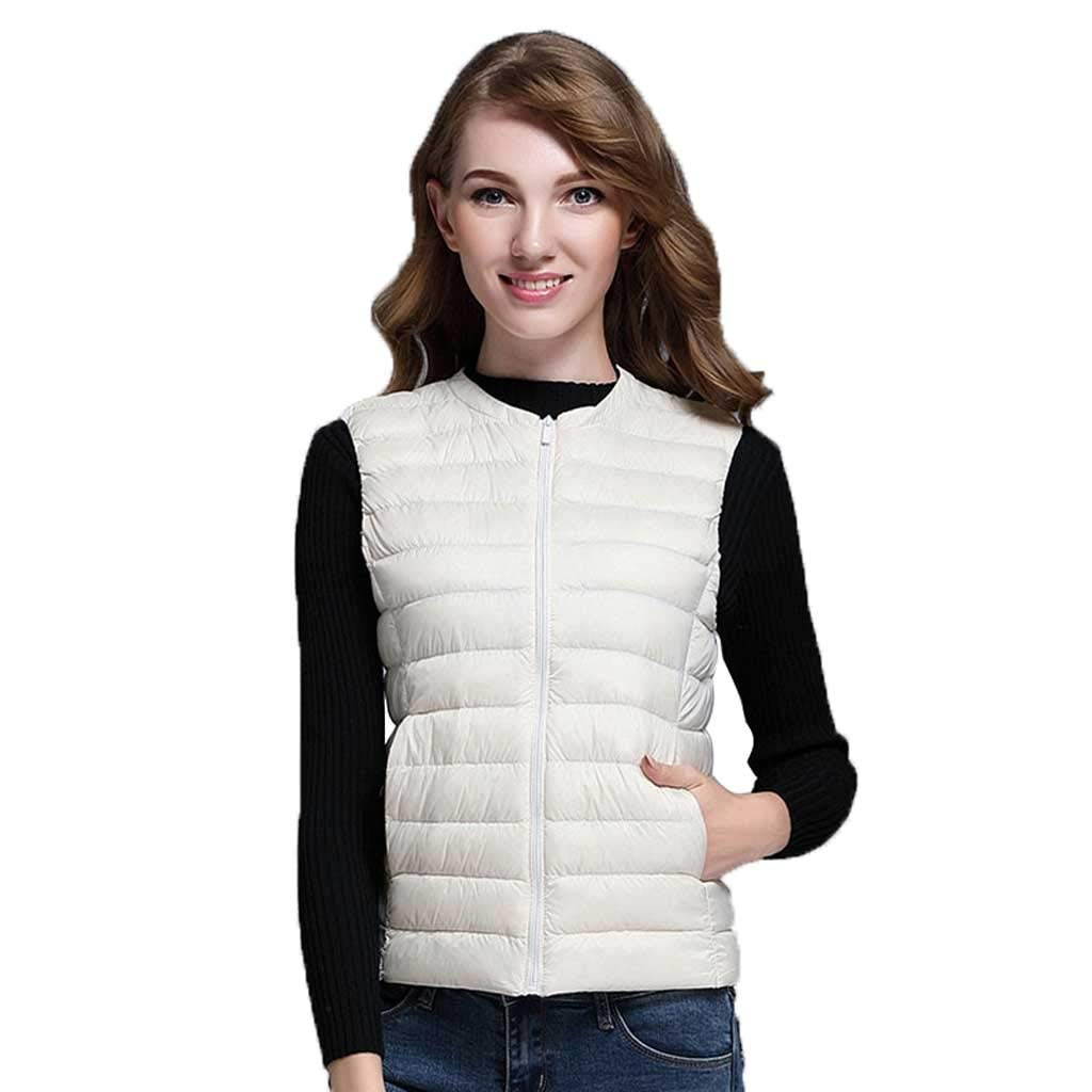 Beige Down Vest Women's Lightweight Thin Sleeveless Short Winter Large Size Adult Casual No Cap