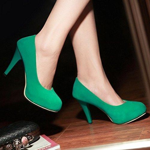 COOLCEPT Mujer Moda sin Cordones Boca Baja Zapatos Elegante Tacon de Aguja Fiesta Zapatos Verde