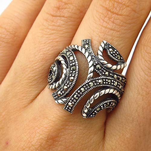 Signed 925 Sterling Silver Real Marcasite Gem Abstract Design Wide Ring Size 8 Jewelry by Wholesale Charms