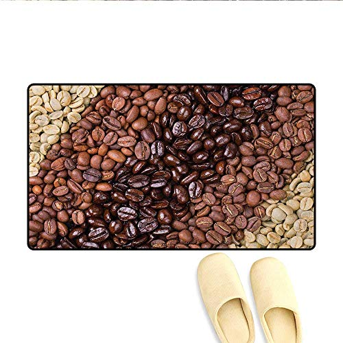 """Bath Mat,Selection of Fresh Roasted and Unroasted Coffee Beans in a Diagonal Stripe Pattern,Door Mats for Inside,Brown Cream,Size:32""""x48"""""""