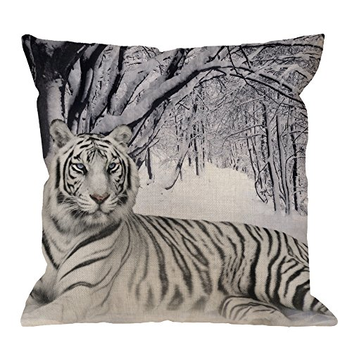 (HGOD DESIGNS Throw Pillow Case White Siberian Tiger on the Snow Forest Cotton Linen Square Cushion Cover Standard Pillowcase Home Decorative Sofa Armchair Bedroom Livingroom 18 x 18 inch)
