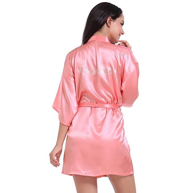 Free Fisher Ropa de Dormir Atractiva Mujer de Seda Batas y Kimono, Rojo de Melon