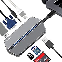 USB C Hub, 8 in 1 Multiport Type C Adapter, Support HDMI & VGA Dual Output, USB 3.0 & 3.5mm Audio Jack, SD/TF Card Reader, Type C Charger for MacBook Pro/Google Pixel & More USB C Devices