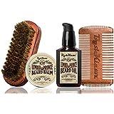 Lumber Prince Beard Balm, Beard Oil, 4Klawz Pocket Beard Comb & BoarKlawz Beard Brush Gift Set Complete Beard Care Grooming Kit Men's - Holiday Christmas Bearded Special Deal Sale Gift Kit
