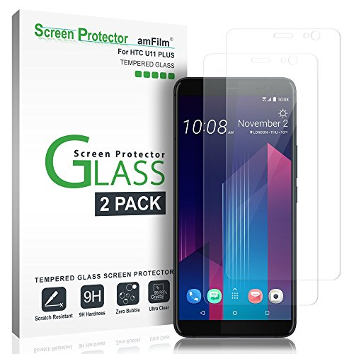 Price comparison product image HTC U11 Plus Screen Protector Glass, amFilm Tempered Glass Screen Protector for HTC U11 Plus 2017 (2-Pack)