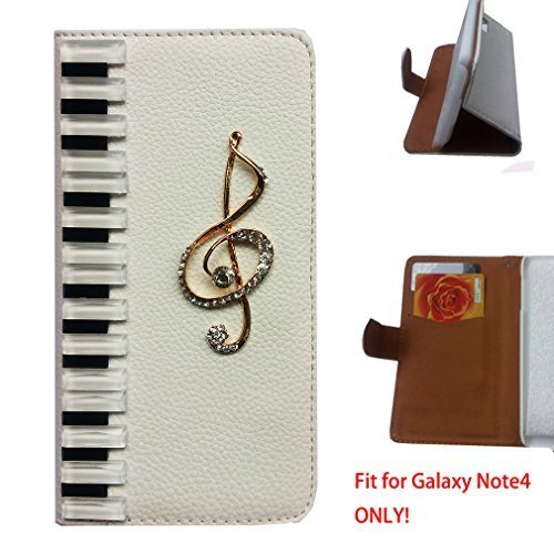 [For Samsung Galaxy Note 4 N9100 ] Artcraft(TM) Premium Luxury Leather 3D Piano Music Note Bling Crystal Flip Case Cover