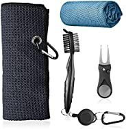 Amvxe Golf Towels Gifts, Microfiber Waffle Golf Towel, Sport Cooling Towels, Golf Club Brush, Foldable Divot T