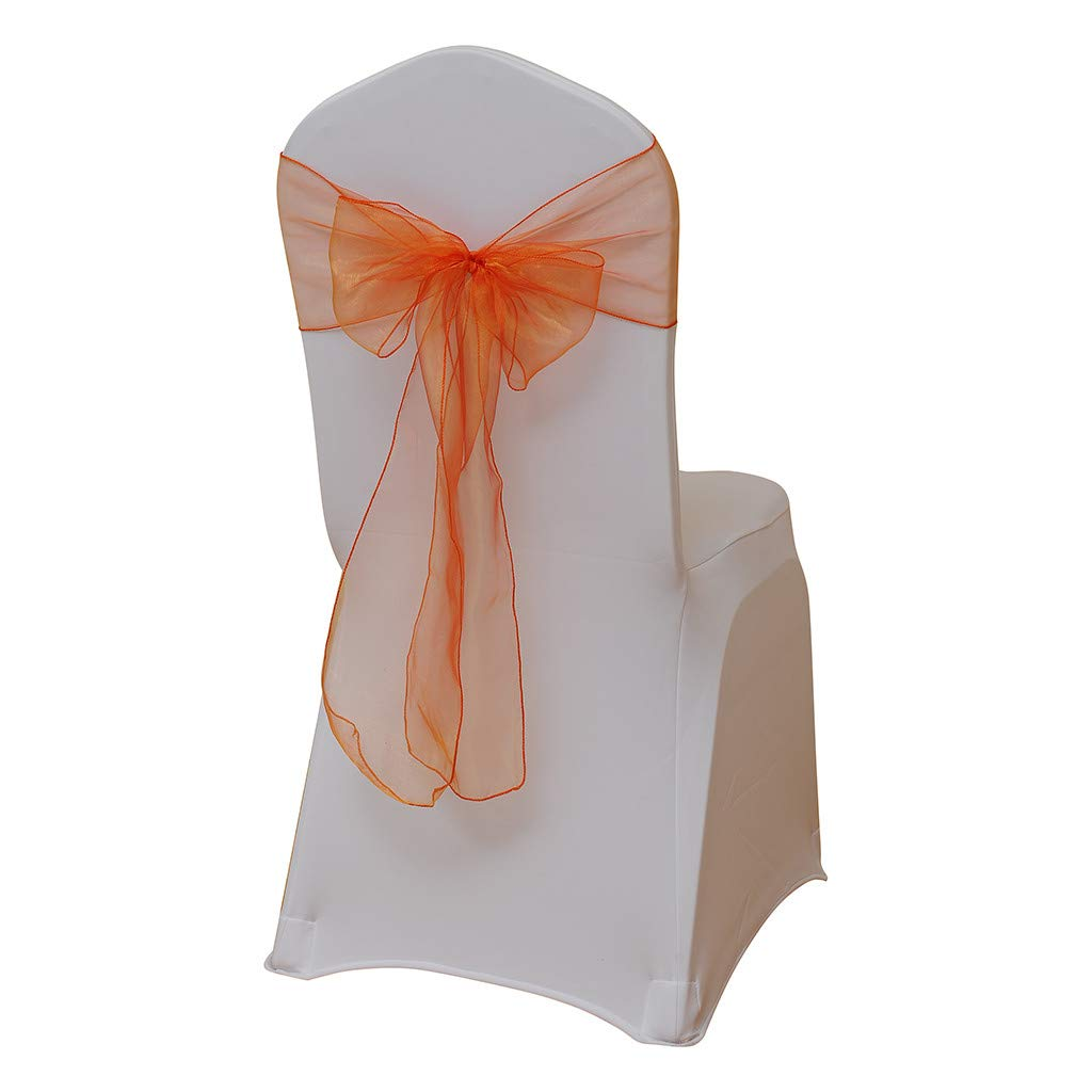 Hohaski Solid Color Flower Chair Back Band Covers, Organza Chair Sashes Bow Sash for Wedding and Events Supplies Party Decoration Chair Cover Sash 4 Colors (Orange)