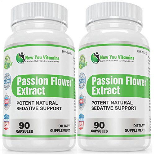 Passion Flower Supplement 180 Passion Flower Capsules BEST DEAL ANYWHERE!  Potent Natural Sedative Support - Passion Flower Herb Extract 900mg 180