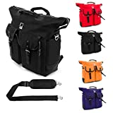 Universal Lencca Premium Canvas Backpack Tote Briefcase Carrying Should Bag for Macbook / Dell / Samsung / Lenovo / Acer / HP / ASUS / Toshiba 13.3 14 14.1 15.6 inch Laptop Notebook Ultrabook