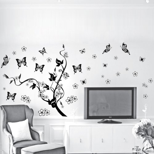 Winhappyhome Black Tree Vines Butterfly Wall Stickers for Bedroom Living Room Sofa TV Backdrop Home Decor Removable Decals