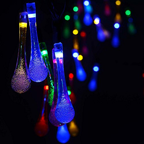 ACE HOME Solar Outdoor String Lights, 20ft 30 LED Warm White Water Drop Solar String Fairy Waterproof Lights Christmas Lights Solar Powered String Lights for Patio, Lawn, Christmas,Party(Multi Color) from ACE HOME