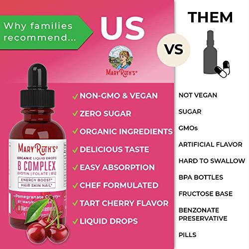 Organic Vitamin B Complex by MaryRuth - Hair Skin Nails Energy - Methyl B12 - Folate - Biotin - Niacin - Liquid Sublingual Supplement - Vitamins B3, 6, 7, 9, 12 - Vegan Non-GMO Tart Cherry - Glass 1oz
