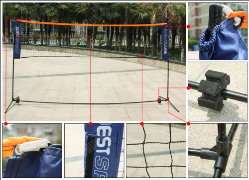 Sobuy Height Adujstable Badminton Net (Lengthen: 500cm), Tennis Volleyball Net with Stand / Frame, SFN03