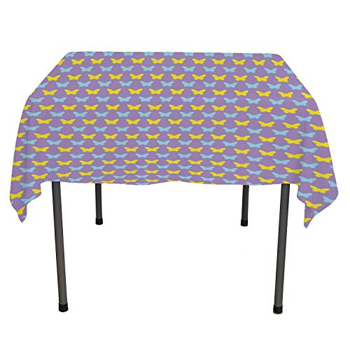 Purple Butterfly Bedside Table Tablecloth Silhouette of Colorful Swallowtail on Violet Background Lavender Pale Blue and Yellow Dinning Tabletop Decoration Rectangle Tablecloth 60 by 120 inch