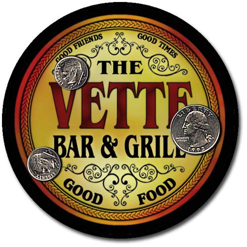 Vette Family Bar and Grill Patriotic Rubber Drink Coaster Set ()