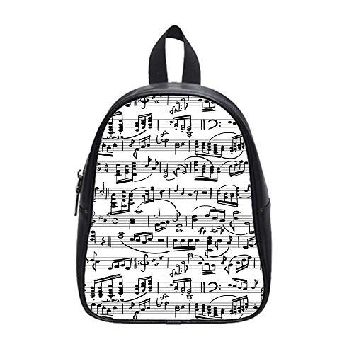 BrowneOLp Backpack Musical Staff School PU Leather Bag Black