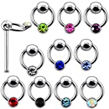 20 Pieces Mix Color Jeweled Round on Moving Ring 925 Sterling Silver Nose Pin Straight End 20Gx5/16 (0.8x8MM). Pack in Acrylic Box.