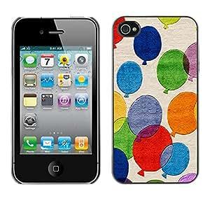 Caucho caso de Shell duro de la cubierta de accesorios de protección BY RAYDREAMMM - Apple iPhone 4 / 4S - Balloons Colorful Painting Art Fly Blue Red