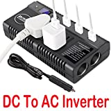 DC to AC Inverter - Car Power Inverter DC 12V 24V to AC 110V 230V Converter Car Charger Adapter with Dual Cigarette Lighter Display Screen 4 2.4A Usb Charging Ports for Phones Laptops Kindle
