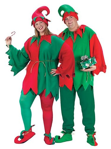 [Fun World Costumes Plus-Size Plus Size Elf Costume, Red/Green, X-Large] (Green And Red Elf Costumes)
