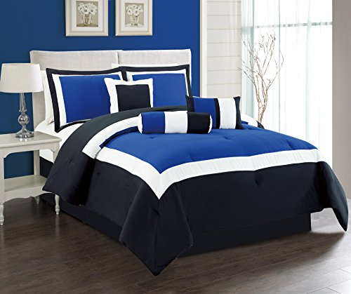 7 Piece QUEEN Size NAVY BLUE / BLACK / GREY Color Block MILA
