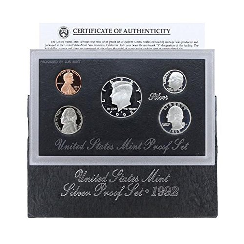 1992 U.S. Silver Proof 5 Coin Set in original box with Certificate of Authenticity Set Proof - 5 Silver Certificate