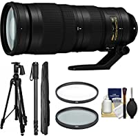 Nikon 200-500mm f/5.6E VR AF-S ED Nikkor Zoom Lens with Pistol Grip Tripod + Monopod + Filters + Kit for DSLR Cameras