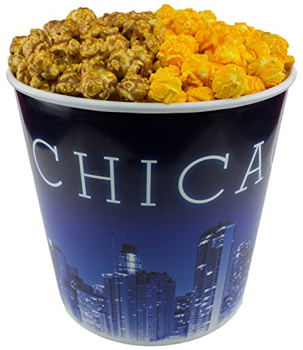 Tin Birthday Popcorn (Signature Popcorn - Gourmet Popcorn - 1-Gallon Blue Chicago Skyline Reusable Plastic Tin, 2-flavors - Half Caramel and Half Cheddar Cheese)