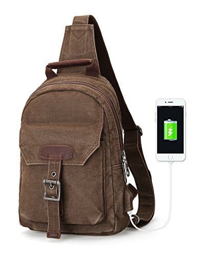 Muzee Sling backpack for men,one strap backpack can fit for 9.7 inch ipad,Crossbody Pack with USB Charging Port...