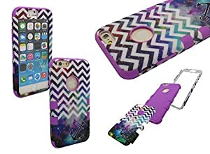 IPHONE 6 SHOCKPROOF CASE, Mobile King USA iPhone 6 (4.7) INCH SCREEN High Impact Rugged Hybrid Case Silicone & PC with NEBULA GALAXY & WHITE CHEVRON & ANCHOR PATTERN (PURPLE)