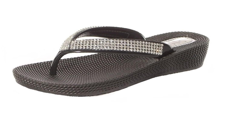 Ladies Womens Diamante Flat Low Wedge Summer Beach Evening Toe Post Flip  Flops Shoes Sandals: Amazon.co.uk: Shoes & Bags