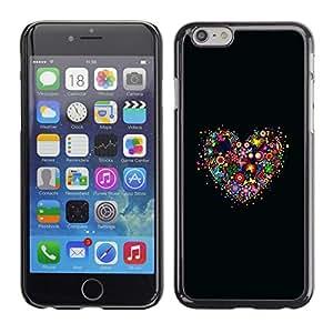 TECHCASE**Cubierta de la caja de protección la piel dura para el ** Apple iPhone 6 Plus 5.5 ** Flower Heart Black Nature Spring Love