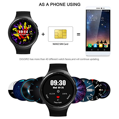 Amazon.com: Diggro DI06 Smart Watch Android 5.1 Bluetooth MTK6580 3G WCDMA 1.0GHZ Quad Core RAM1GB+ROM16GB 2.0MP Camera Support Nano SIM Card GPS WIFI Heart ...
