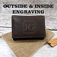 Brown Genuine Leather Tri Fold Personalized Mens Wallet Black (777)