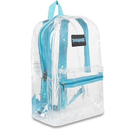 """17""""trailmaker Mochila Bookbag, transparente con borde de colores, Pink Trim Aqua Trim"""