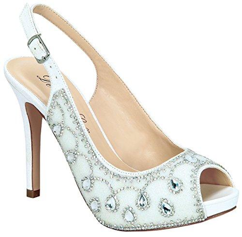 Womens Shiny Fabric Rhinestone Filigree Embellished Sling Back Peep Toe Pump White Sparkle NQQeKVB7