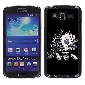 Be Good Phone Accessory // Dura Cáscara cubierta Protectora Caso Carcasa Funda de Protección para Samsung Galaxy Grand 2 SM-G7102 SM-G7105 // Vintage Western Zombie Poker Hand