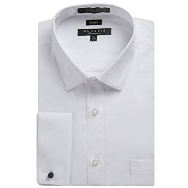 Men's Slim Fit French Cuff Spread Collar Solid Dress Shirt ...