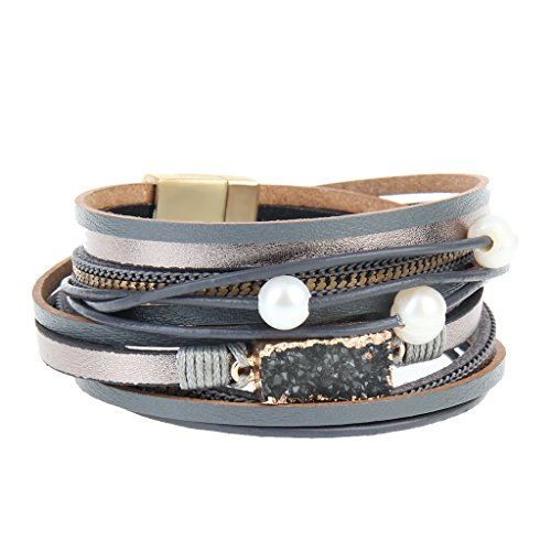 COOLLA Women Genuine Leather Vintage Volcanic Stone Wrap Bangle Bracelet Pearl Pendant Magnet Buckle (Grey) by COOLLA (Image #2)
