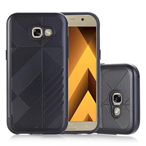 Coohole Fashion Hard Soft Rubber Impact Armor Back Hybrid Case Cover For Samsung Galaxy A5 2017 (A5 Black Dust)