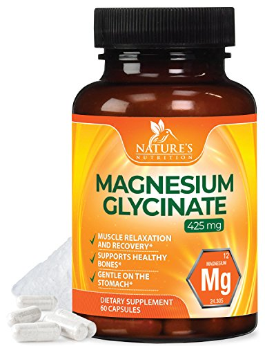 Magnesium Glycinate Lysinate Capsules High Potency 450mg - 100% Chelated for High Absorption, Muscle Relaxation & Gentle Digestion, Muscle, Bone, Joint, Heart & Enzyme Function Support - 60 Capsules