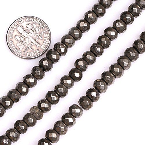 - Pyrite Beads for Jewelry Making Natural Gemstone Semi Precious 4x6mm Faceted Rondelle Silver Gray 15