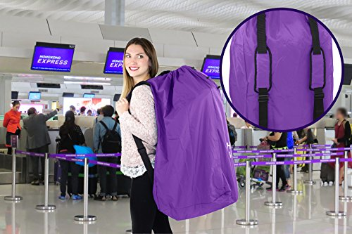 Stroller Travel Bag for Airplane Gate Check in - Large Standard or Double Stroller Purple by Reperkid (Image #2)